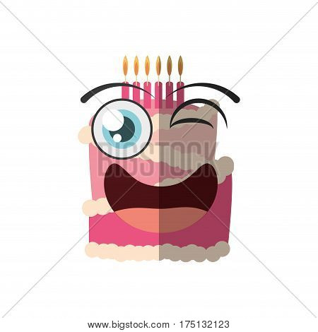 cartoon cake candle sweet wink vector illustration eps 10