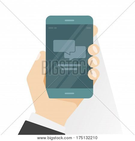 Smartphone in hand showing chatting app vector illustration, flat style black mobile phone with chat bubble speeches notifications isolated on white background