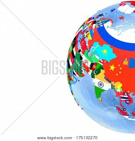 Asia On Political Globe With Flags