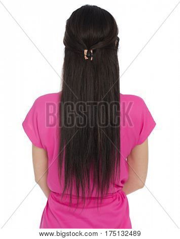 Female Long brunette hair, rear view, isolated on white background