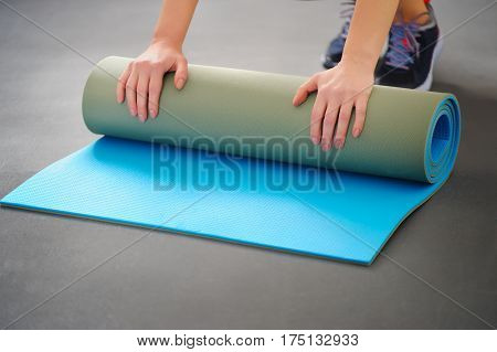 Mat For Fitness In The Gym.