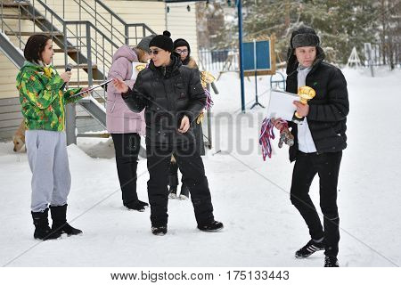 Orenburg, Russia - January 26, 2017 Year: Students Compete In The Tug-of-war