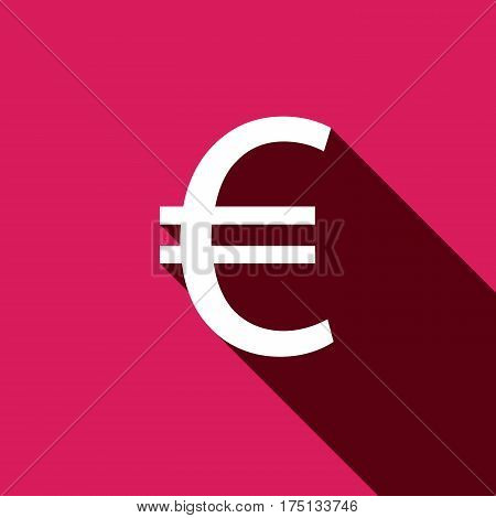 White flat Euro icon with long shadow. Vector illustration. EPS 10