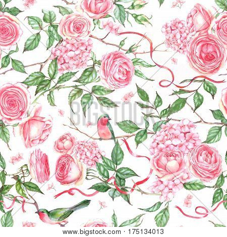 Hand-drawn watercolor repeated pattern with pink roses, hydrangea, leaves, branch, bird. Romantic spring floral seamless pattern for textile, wallpapers