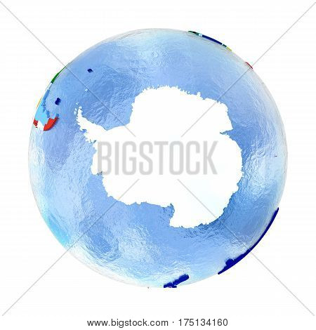 Antractic On Political Globe With Flags Isolated On White