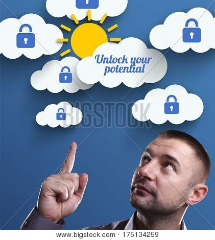 Business, Technology, Internet And Marketing. Young Businessman Thinking About: Unlock Your Potentia