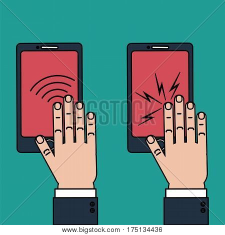 Hand touching phone screen for biometric identification as well as haptic feedback concept. Stock vector vector illustration for computer authenticationn by fingerprint scan and kinesthetic simulation