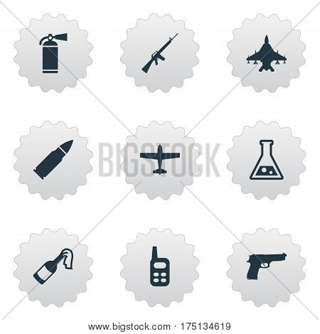 Vector Illustration Set Of Simple Military Icons. Elements Rifle Gun, Air Bomber, Chemistry And Other Synonyms Weapon, Laboratory And Fighter.