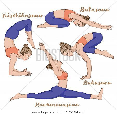 Women silhouette. Monkey yoga pose. Hanumanasana. Child s yoga pose. Balasana. Scorpion. Vrischikasana. Crane yoga pose. Bakasana Vector illustration