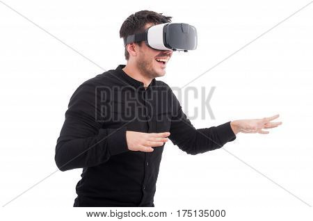 Young Man With Vr Glasses Touching Someting