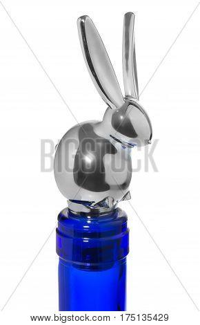 Silver Stopper Wine Bottles In The Shape Of A Bunny, Closing Blue, Empty, Bottle.