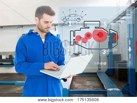 Digital composition of automobile mechanic using laptop and mechanic interface