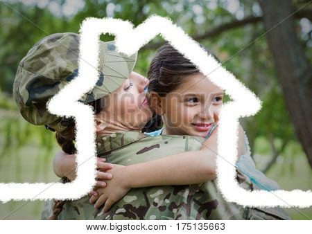 Digital composition of female soldier carrying her daughter overlaid with house shape