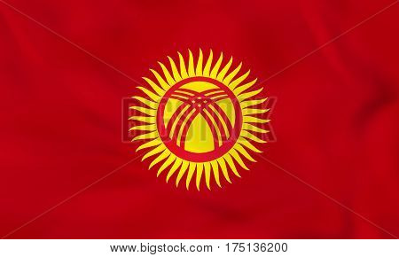Kyrgyzstan Waving Flag. Kyrgyzstan National Flag Background Texture.