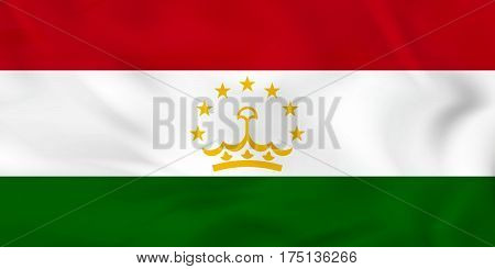 Tajikistan Waving Flag. Tajikistan National Flag Background Texture.