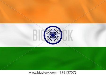 India Waving Flag. India National Flag Background Texture.