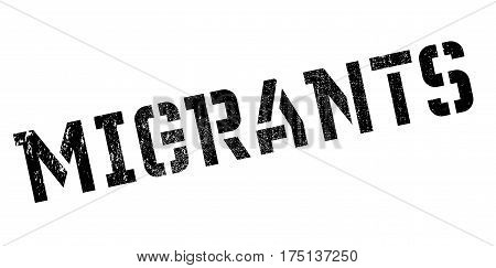 Migrants rubber stamp. Grunge design with dust scratches. Effects can be easily removed for a clean, crisp look. Color is easily changed.