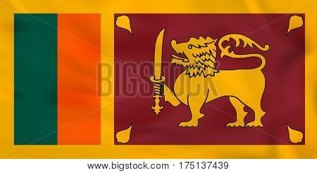 Sri Lanka Waving Flag. Sri Lanka National Flag Background Texture.
