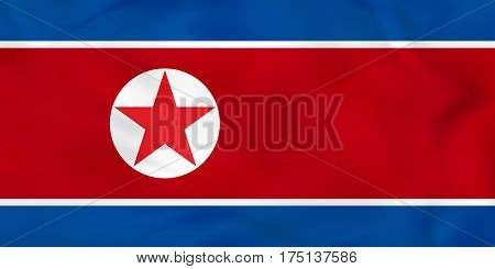 North Korea Waving Flag. North Korea National Flag Background Texture.