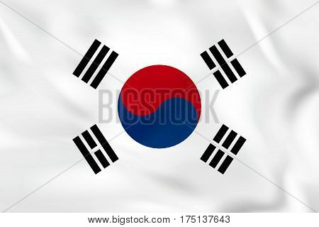 South Korea Waving Flag. South Korea National Flag Background Texture.