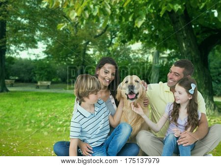 Digital composition of happy family with pet dog enjoying in park