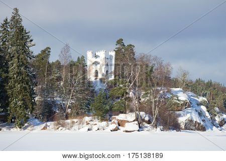 View of a chapel tomb of Lyudvigsburg on the Island of the Dead in the February afternoon. Vyborg, Russia