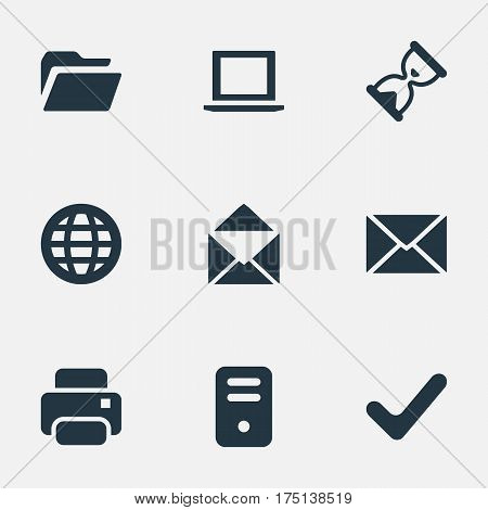 Vector Illustration Set Of Simple Practice Icons. Elements Dossier, Web, Notebook And Other Synonyms Notebook, Folder And Laptop.