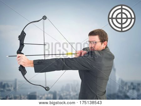 Digital composition of businessman aiming with bow and arrow