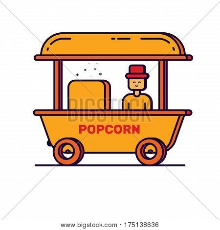 Vector illustration of cartoon outline man with popcorn cart carnival store. Graphic design concept of circus shop with pop corn. Use in Web Project and App. Flat bold line stock isolated object.