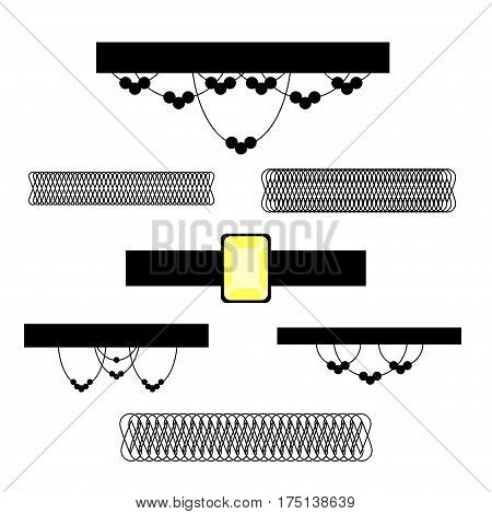 Chocker set. Stock vector illustration of popular necklace style isolated on white background.