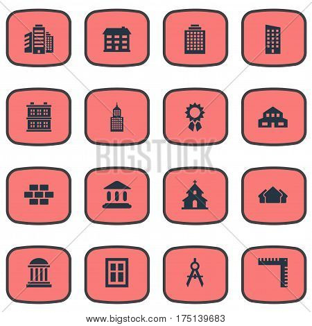 Vector Illustration Set Of Simple Construction Icons. Elements Reward, Length, Block And Other Synonyms Booth, Compass And Residential.