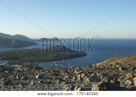 View of the amazing scenery of the Aeolian Islands