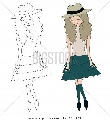 Girl in hat vector illustration of a stick figurine
