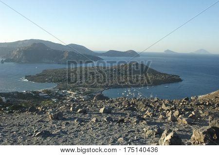 View of amazing scenery of the Aeolian Islands