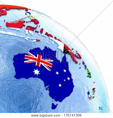 Australia On Political Globe With Flags