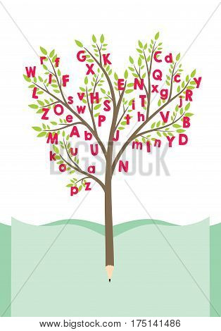 Tree with alphabet letters - education and literature concept