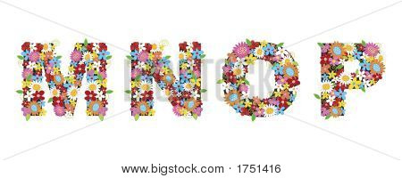 spring flower alphabets - MNOP  poster