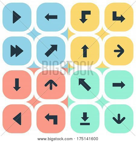 Vector Illustration Set Of Simple Arrows Icons. Elements Downwards Pointing, Left Direction, Upward Direction And Other Synonyms Forward, Ahead And Reduction.