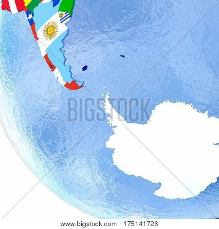 Antractic On Political Globe With Flags