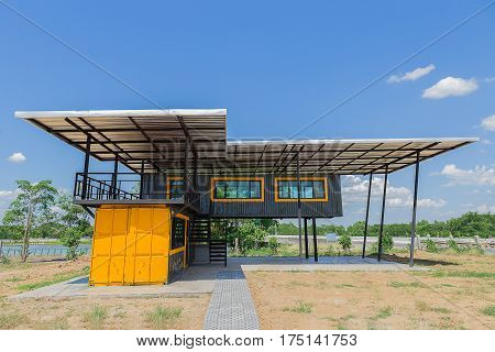 Makeshift metal buildings made from shipping containers