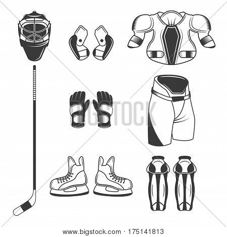 Ice Hockey sport equipment set of vector black design elements, objects, symbols isolated on white background. Vector hockey equipment in flat style. Ice hockey equipment template