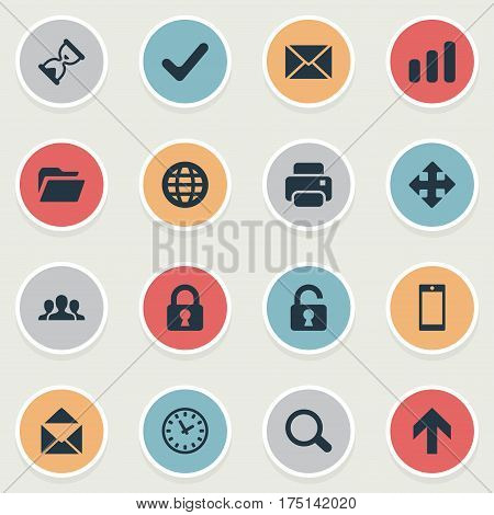 Vector Illustration Set Of Simple Apps Icons. Elements Community, Check, Dossier And Other Synonyms Sphere, File And Upward.