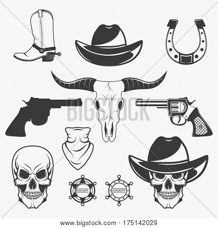 Set of wild west cowboy monochrome icons, design elements isolated on white background. Wild west and rodeo symbols