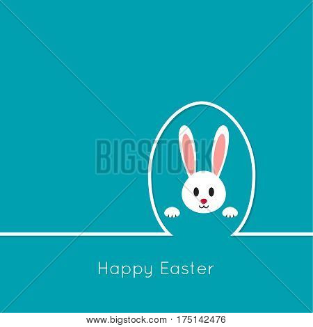 Happy easter cards illustration with egg, bunny. minimal outline. Vector isolated. Abstract background with Easter funny rabbit. blue