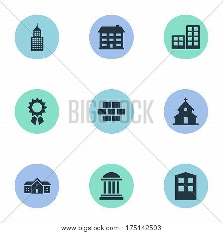 Vector Illustration Set Of Simple Construction Icons. Elements Reward, Flat, Stone And Other Synonyms Reward, Rooms And Religious.
