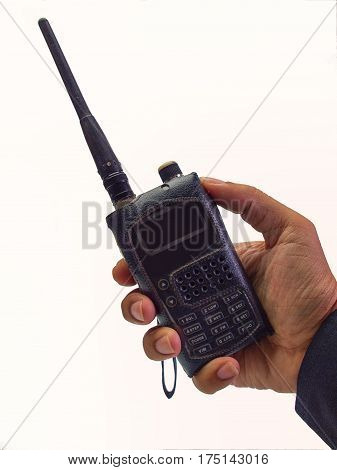 technician with radio communication in action isolated on white background with. (clipping path)