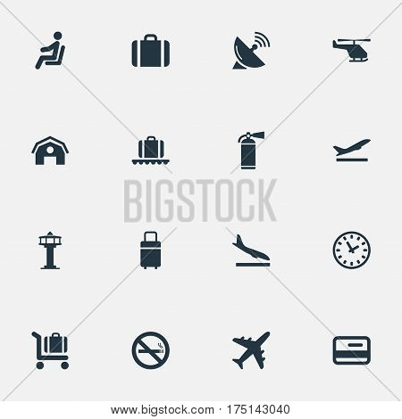 Vector Illustration Set Of Simple Plane Icons. Elements Plane, Takeoff, Protection Tool And Other Synonyms Suitcase, Hangar And Satelite.