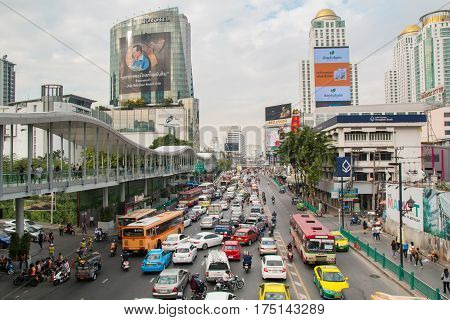 BANGKOK, THAILAND - DECEMBER 13, 2016: road traffic in bangkok