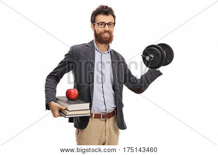 Young professor lifting a dumbbell isolated on white background
