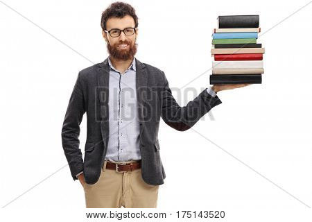 Professor holding a stack of books isolated on white background